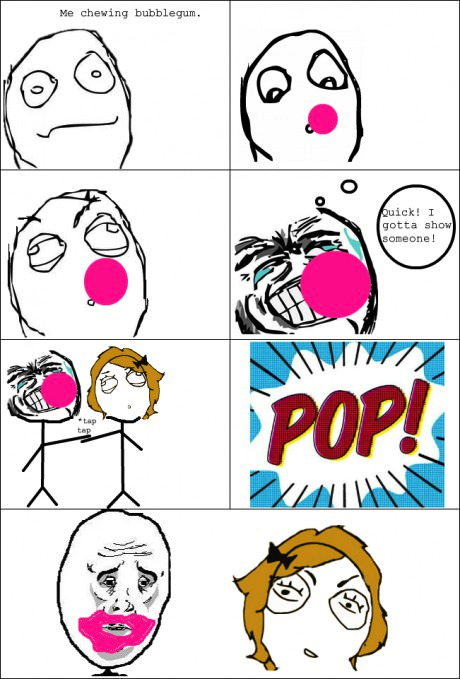 bubble gum popping okay guy randombrainz